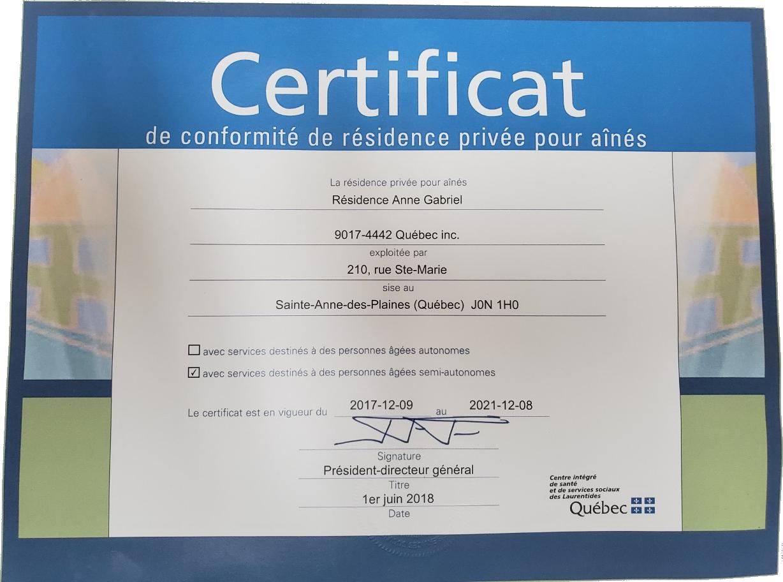 Certificat de résidence - Résidence Anne Gabriel (résidence à Terrebonne)